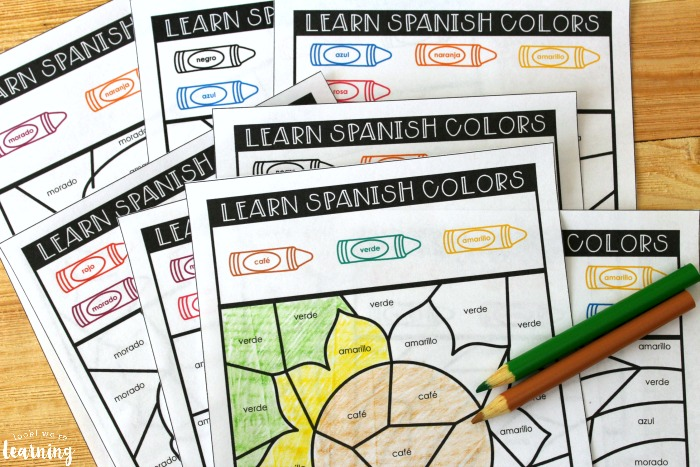 Printable Learning Spanish Colors Activity for Kids