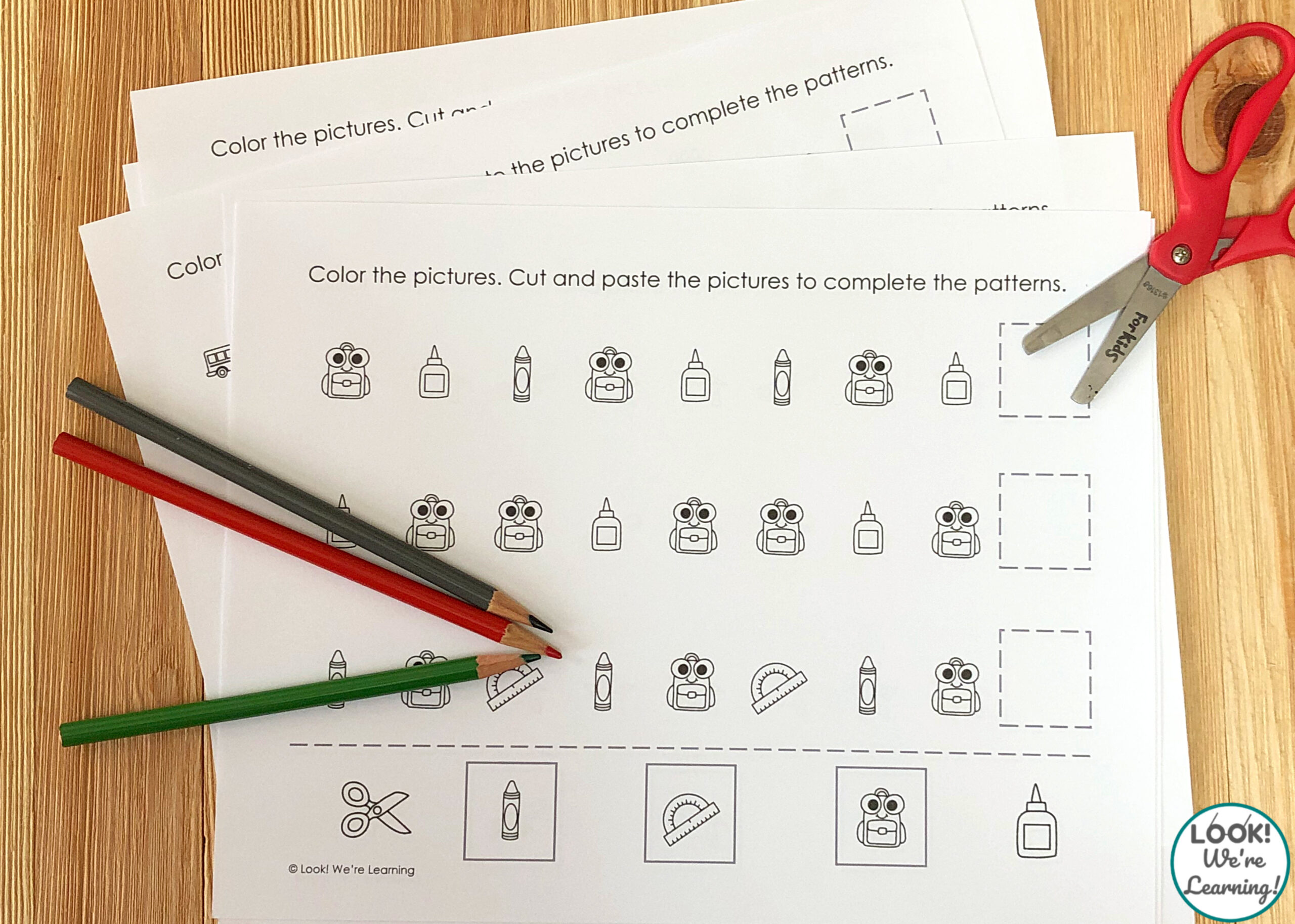 School Supplies Pattern Building Activity
