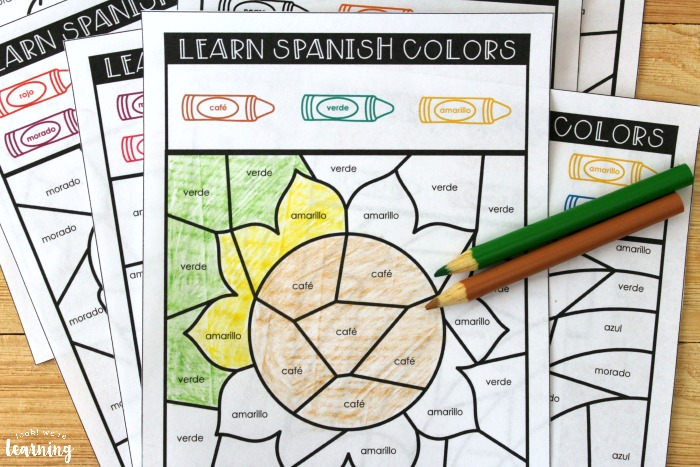 Spanish Color Words Learning Activity