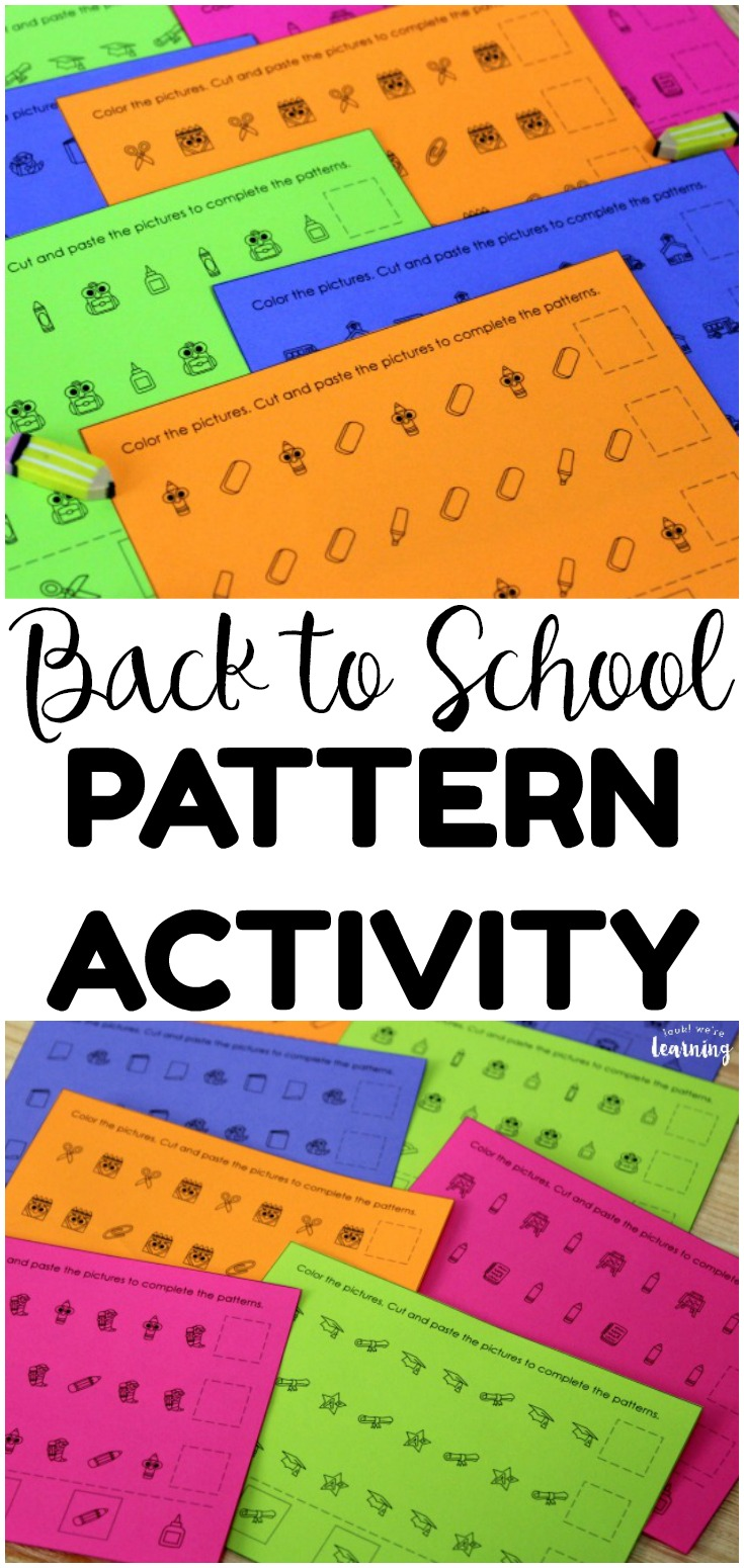 This back to school pattern activity is perfect for little learners who are working on basic math patterns! Add it to math centers or morning tubs!