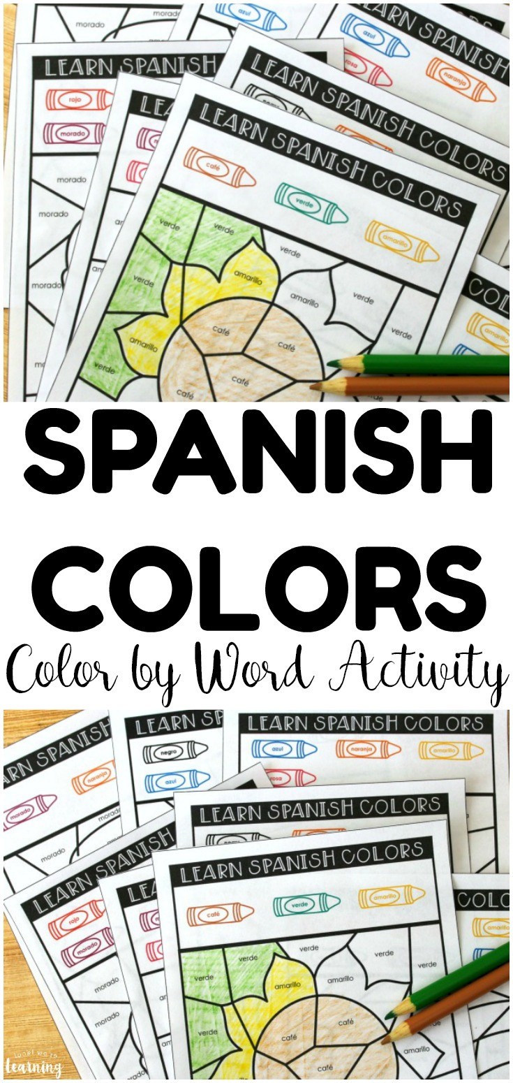 Teach kids how to recognize Spanish color vocabulary words with this fun Spanish color by word activity!