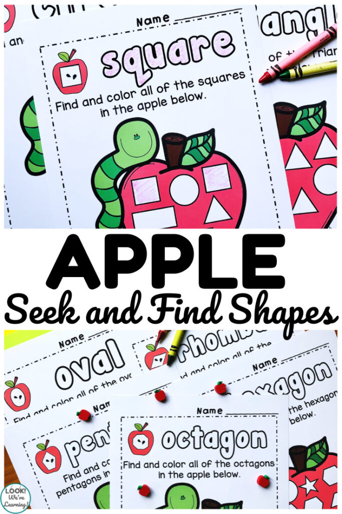 These apple seek shape sorting worksheets are such a fun way to help early learners practice shape recognition!