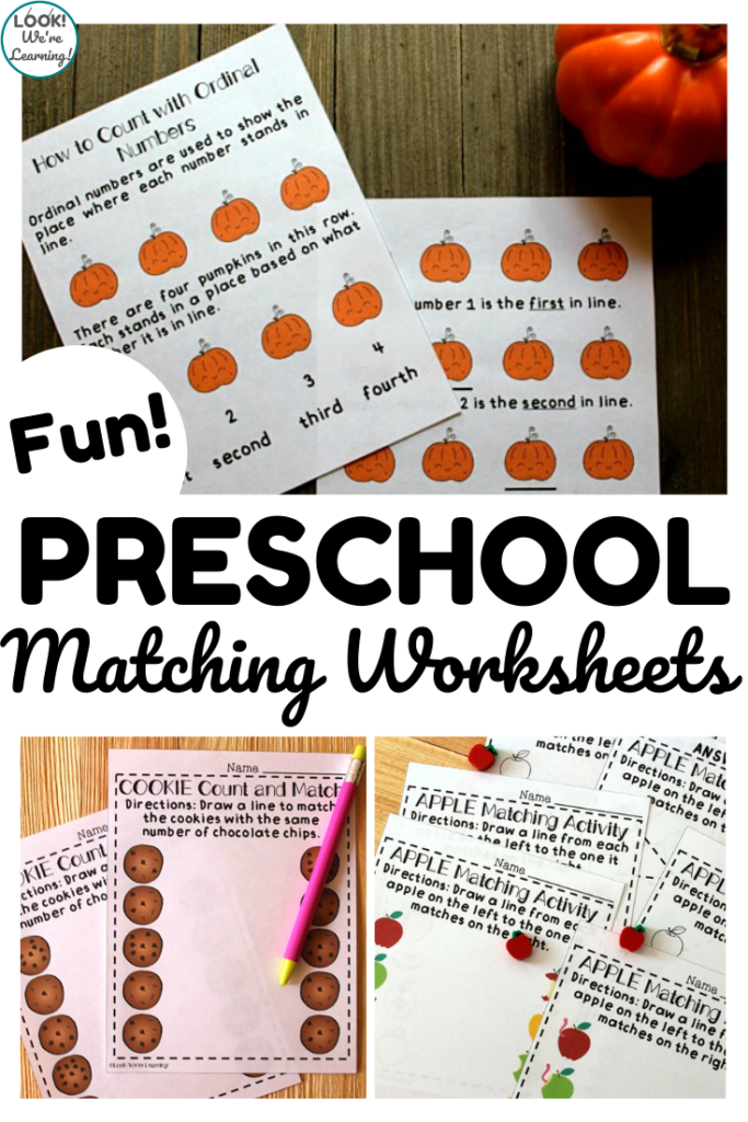 These fun preschool matching worksheets make it easy to teach early learners how to recognize similar objects!