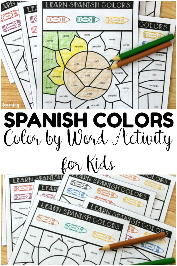 This fun Spanish color word activity is perfect for helping kids learn how to read and write Spanish color vocabulary words!