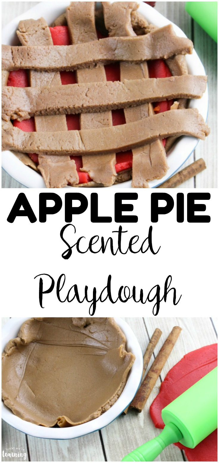 Welcome fall with this fun apple pie playdough recipe for kids! Wonderful as a fall sensory activity for preschoolers!