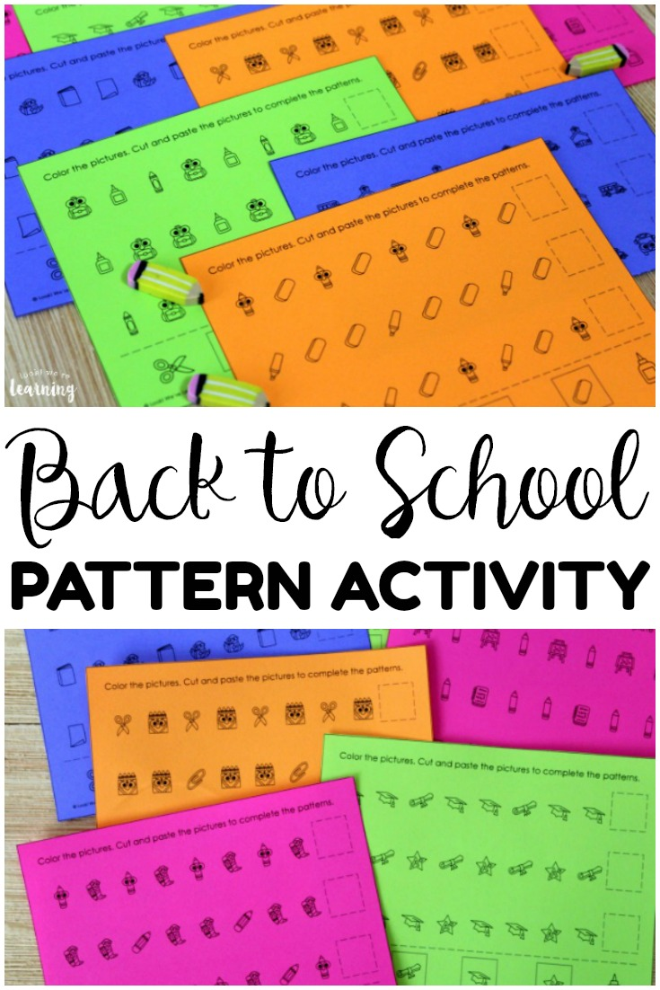 Work on building and completing basic math patterns with this fun back to school pattern activity! Perfect for math center practice!