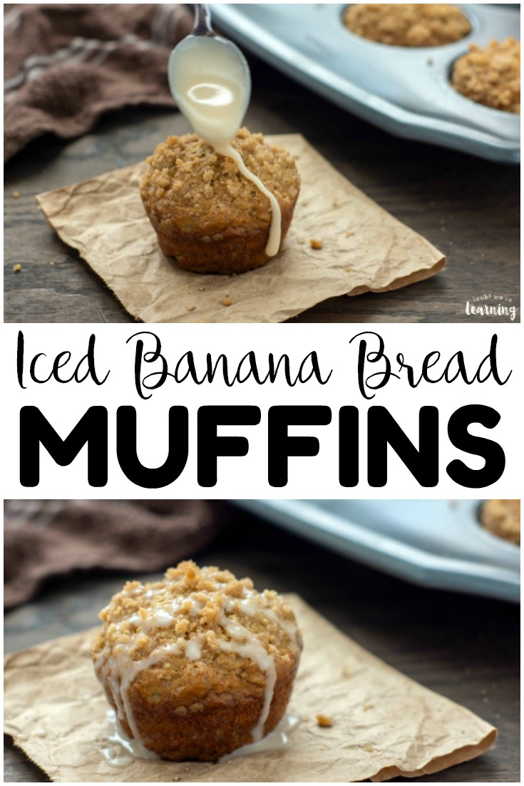 Want a change from the typical banana muffins recipe? Try these iced banana bread muffins for a simple and delicious breakfast or snack!