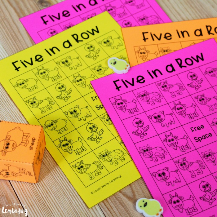 Five In a Row Printable Farm Game