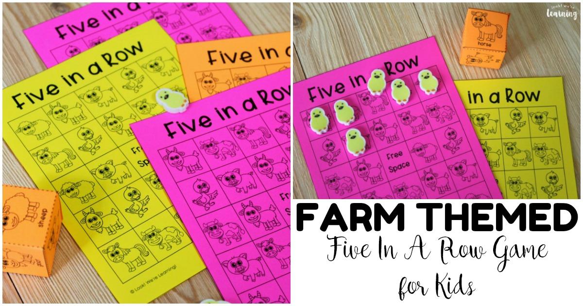 Fun Five In a Row Printable Farm Game