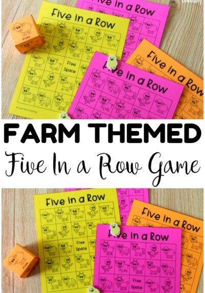 Make counting practice fun with this five in a row printable farm game! Great for early math centers!