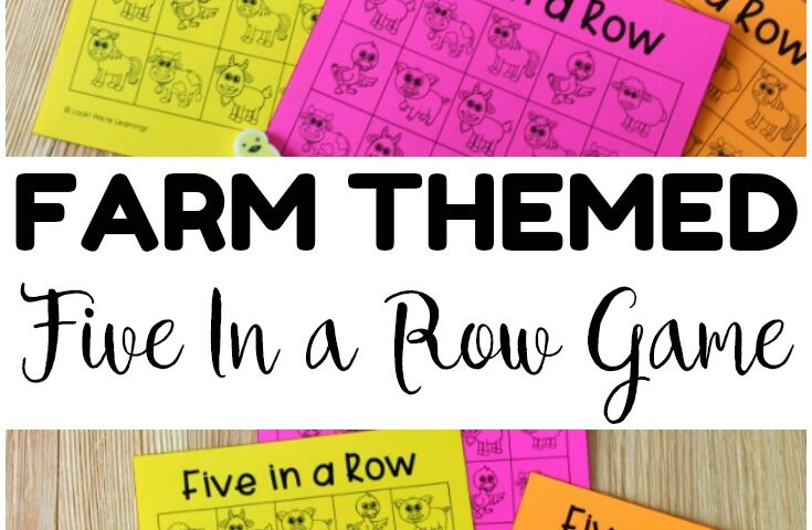 Five In A Row Printable Farm Game for Kids