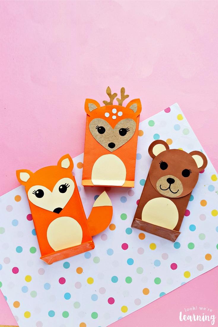 Simple Paper Bag Woodland Animal Crafts for Kids