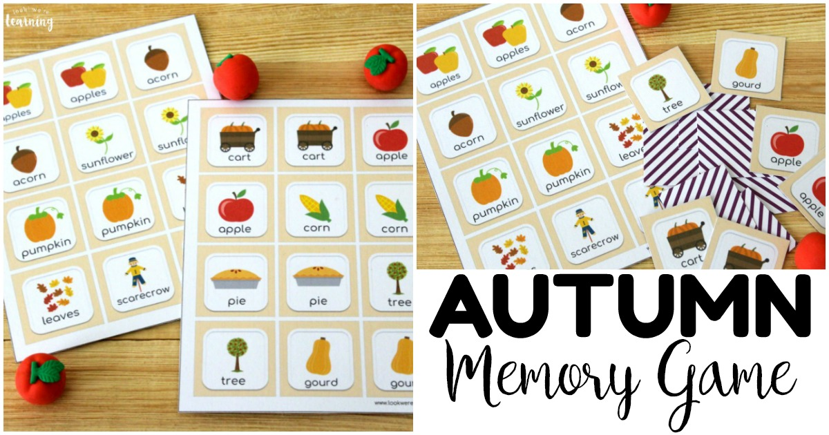 Simple Printable Fall Memory Game for Kids