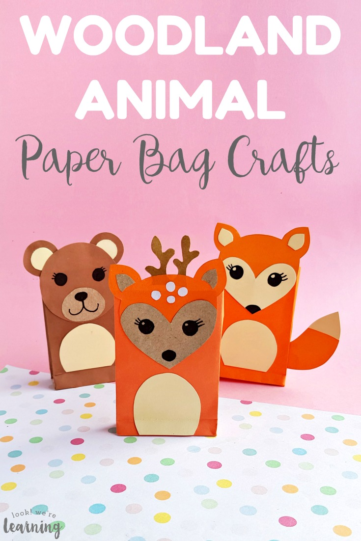 These easy and fun paper bag woodland animal crafts kids can make! Choose from a paper bag fox craft, paper bag bear craft, and a paper bag deer craft!