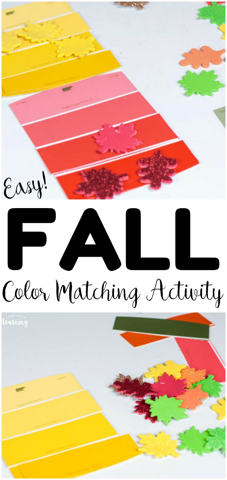 This easy fall color matching activity is a perfect way to talk about fall colors with kids! Use it as a fall busy bag or at centers!