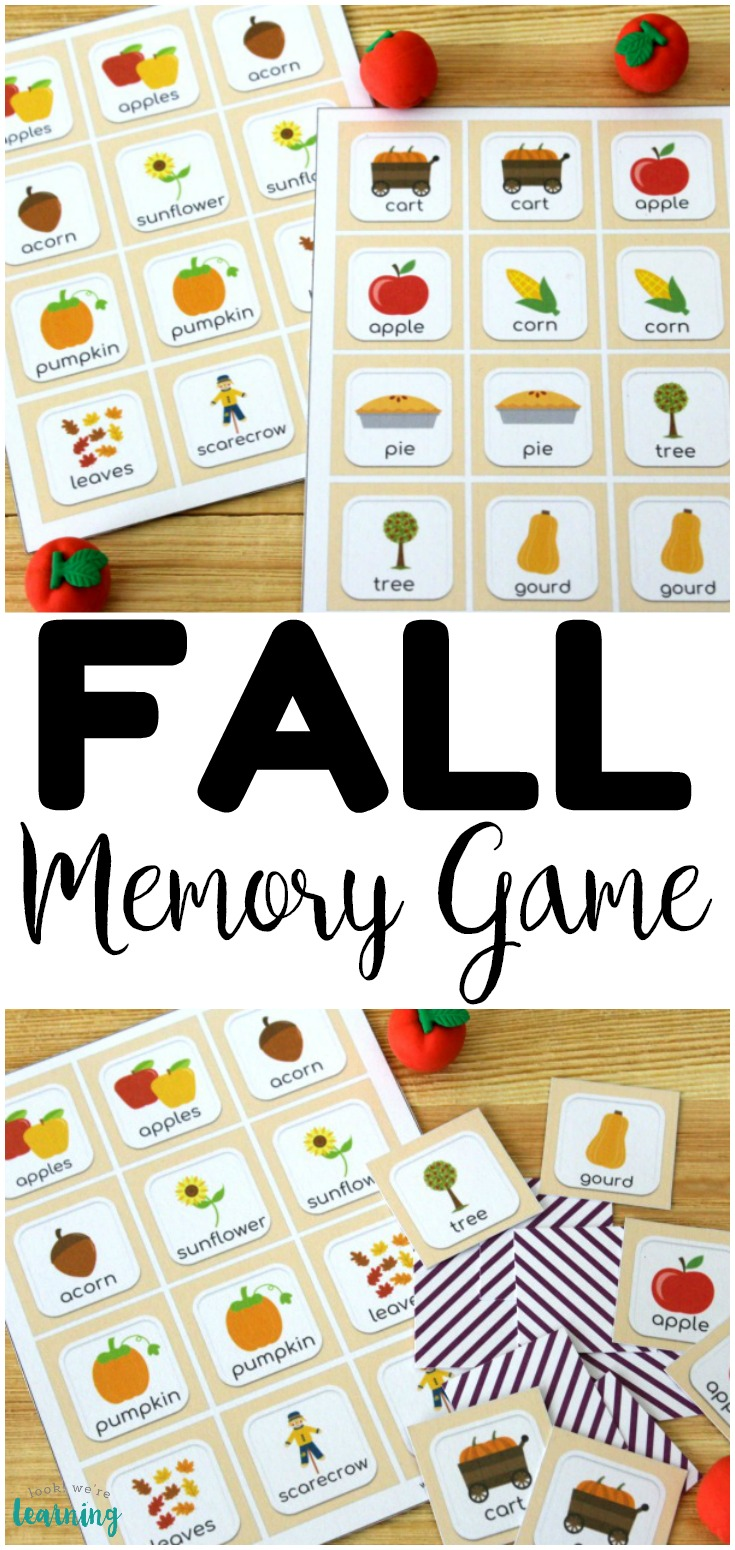 This printable fall memory game is such a fun way to get little ones ready for autumn!