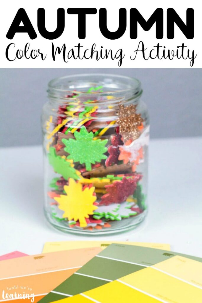 Use simple supplies to make this easy fall color matching activity for preschoolers! Perfect for fall preschool lessons!