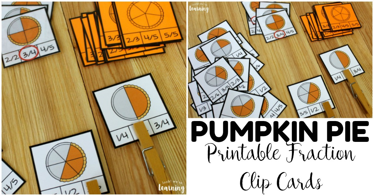 Fun Pumpkin Pie Fraction Clip Cards