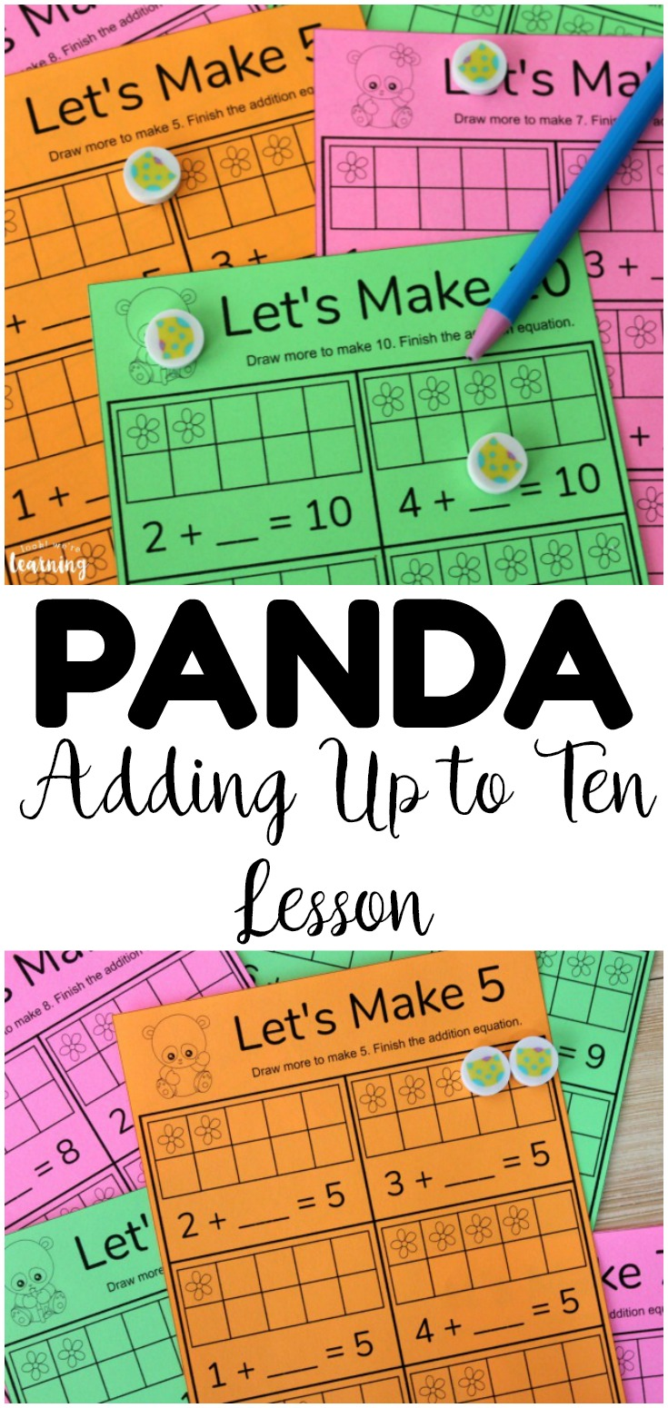Help students learn how to add sums up to ten with this cute panda adding up to make ten lesson! Perfect for early math practice!