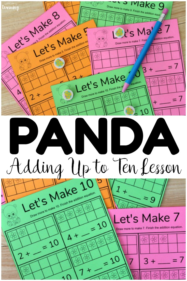 Learn how to add sums up to ten with this printable panda adding to make ten math lesson! Try this with early grade students for addition fluency!