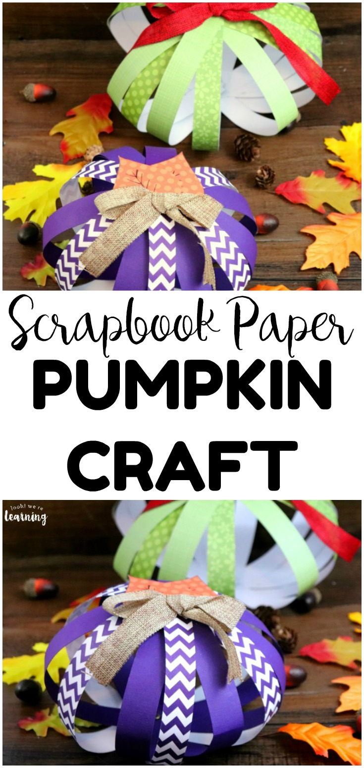 Make this simple scrapbook paper pumpkin craft to add easy fall decor to your home or classroom! This fall paper craft is so simple kids can help make it!