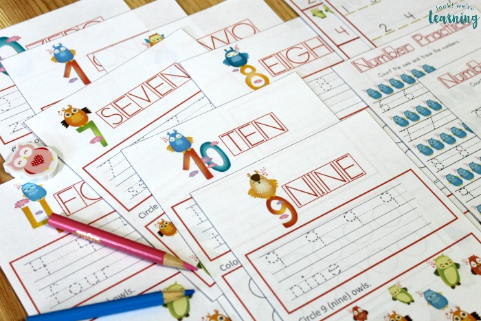 Owl Themed Printable Numbers Lesson