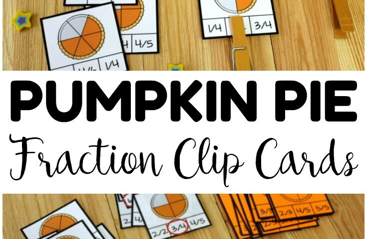 Pumpkin Pie Parts! Fraction Clip Cards for Kids