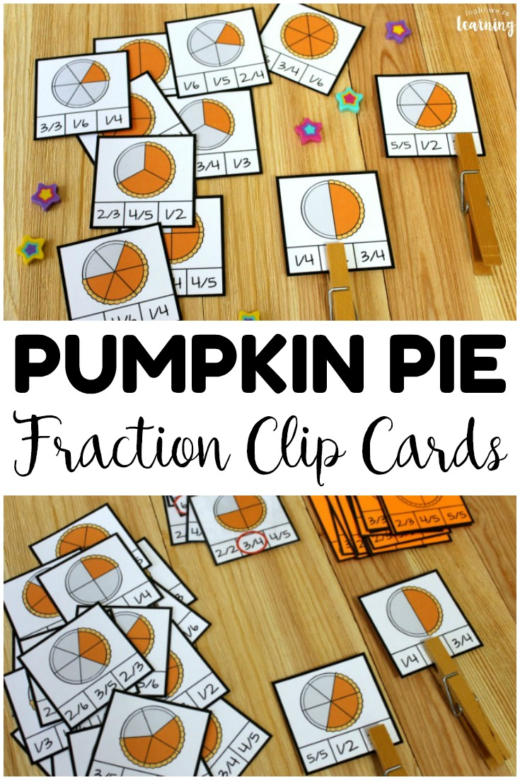 Pick up these pumpkin pie fraction clip cards to help students practice fraction skills during fall! So fun for fall morning tubs and math centers!