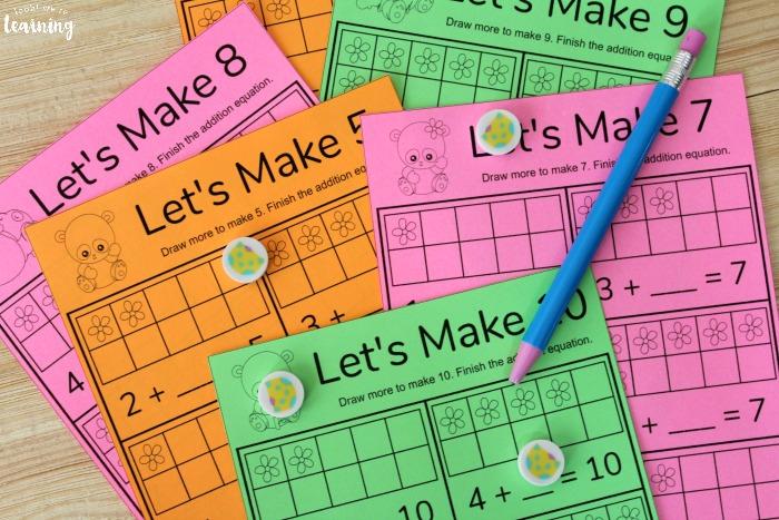 Panda Themed Make Ten Worksheets for Kids