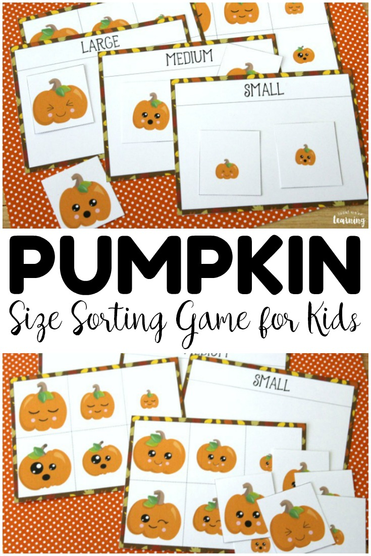 Pick up this simple pumpkin preschool size sorting game to help early learners practice size recognition! So fun for a fall math center activity!