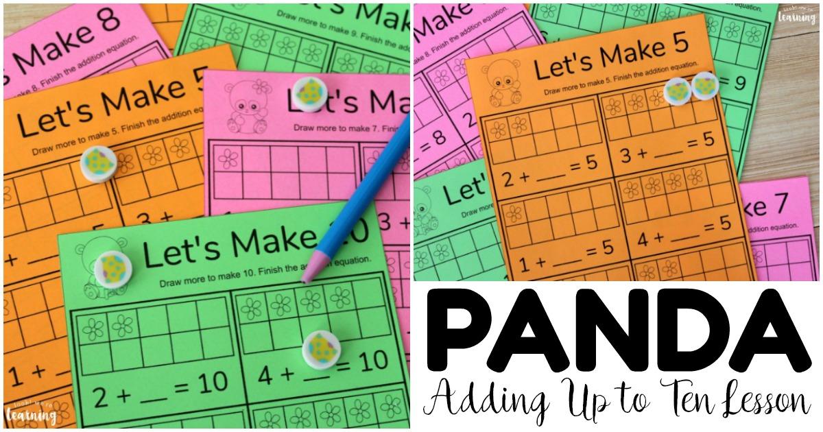 Printable Panda Adding Up to Ten Math Lesson