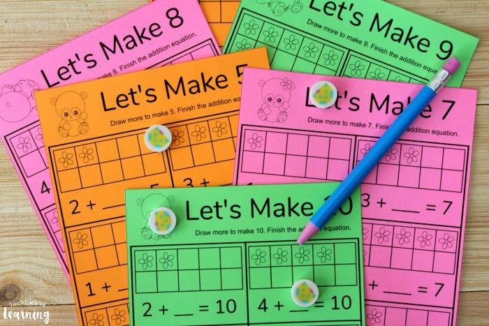 Printable Panda Make Ten Worksheets