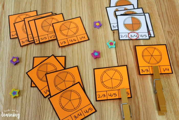 Printable Pumpkin Pie Themed Fraction Clip Cards for Kids