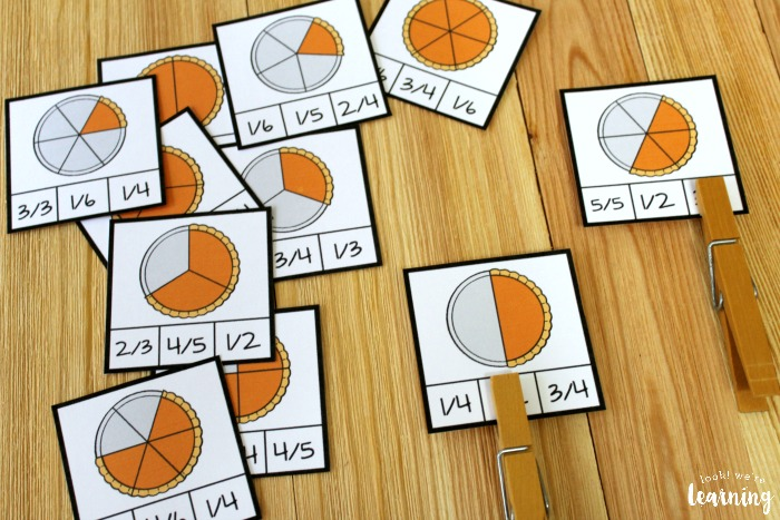 Printable Pumpkin Pie Themed Fraction Clip Cards