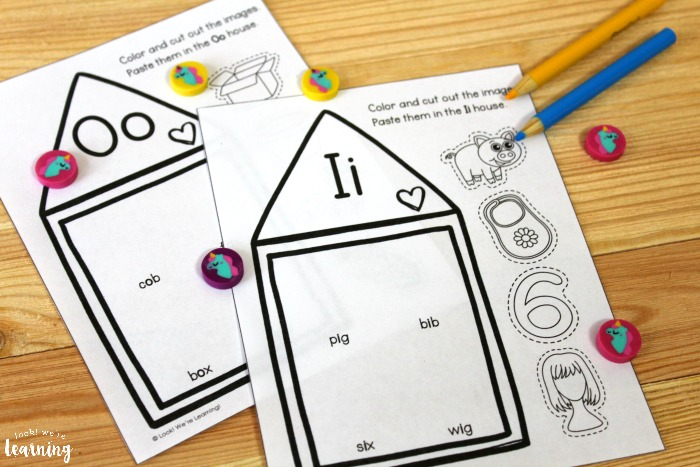 Printable Short Vowel Sound Houses Activity