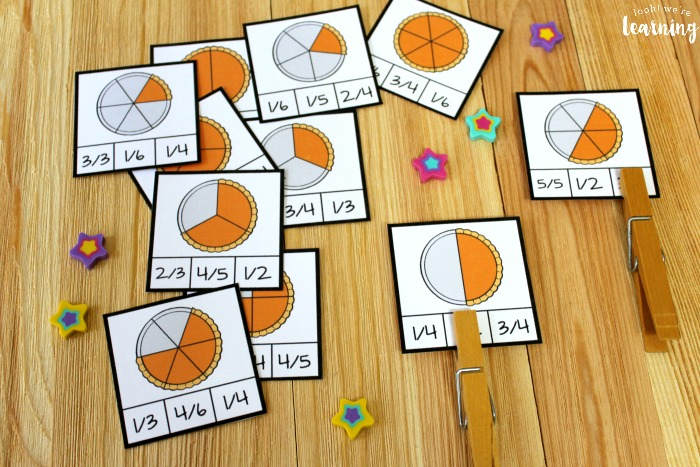 Pumpkin Pie Fraction Clip Cards for Kids