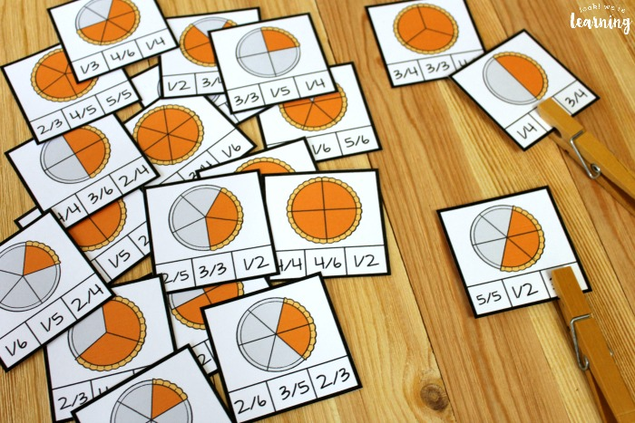 Pumpkin Pie Fraction Clip Cards