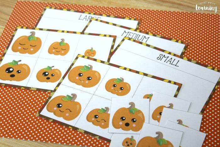 Pumpkin Themed Size Sorting Game for Preschool