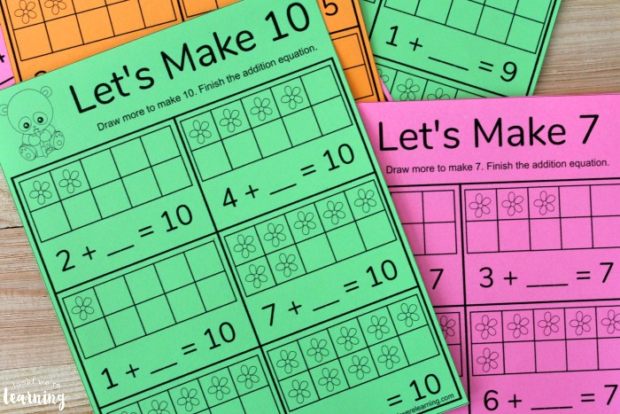 Simple Adding to Make Ten Worksheets for Kids