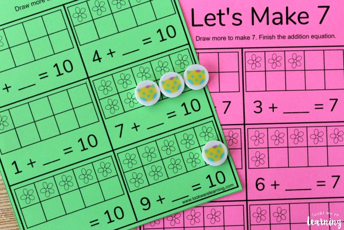 Simple Adding to Make Up to Ten Worksheets