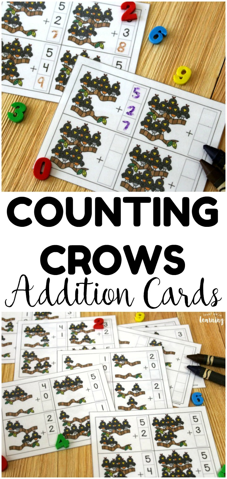 These counting crows addition fact cards are so much fun for helping students master basic addition facts! Laminate them and use them with dry erase crayons for a quick math review!