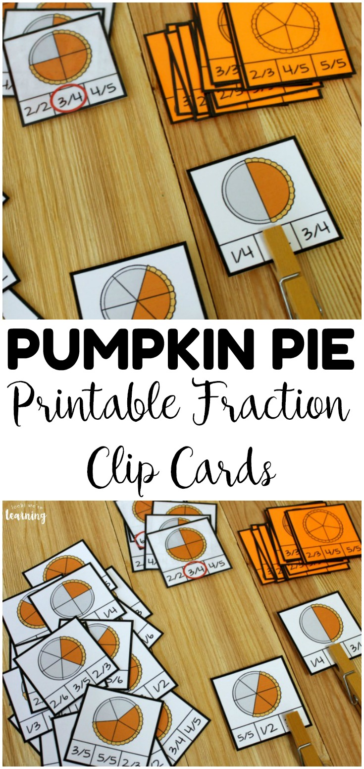 These pumpkin pie themed fraction clip cards are great for practicing math skills during fall! Add them to morning tubs or fall math centers!