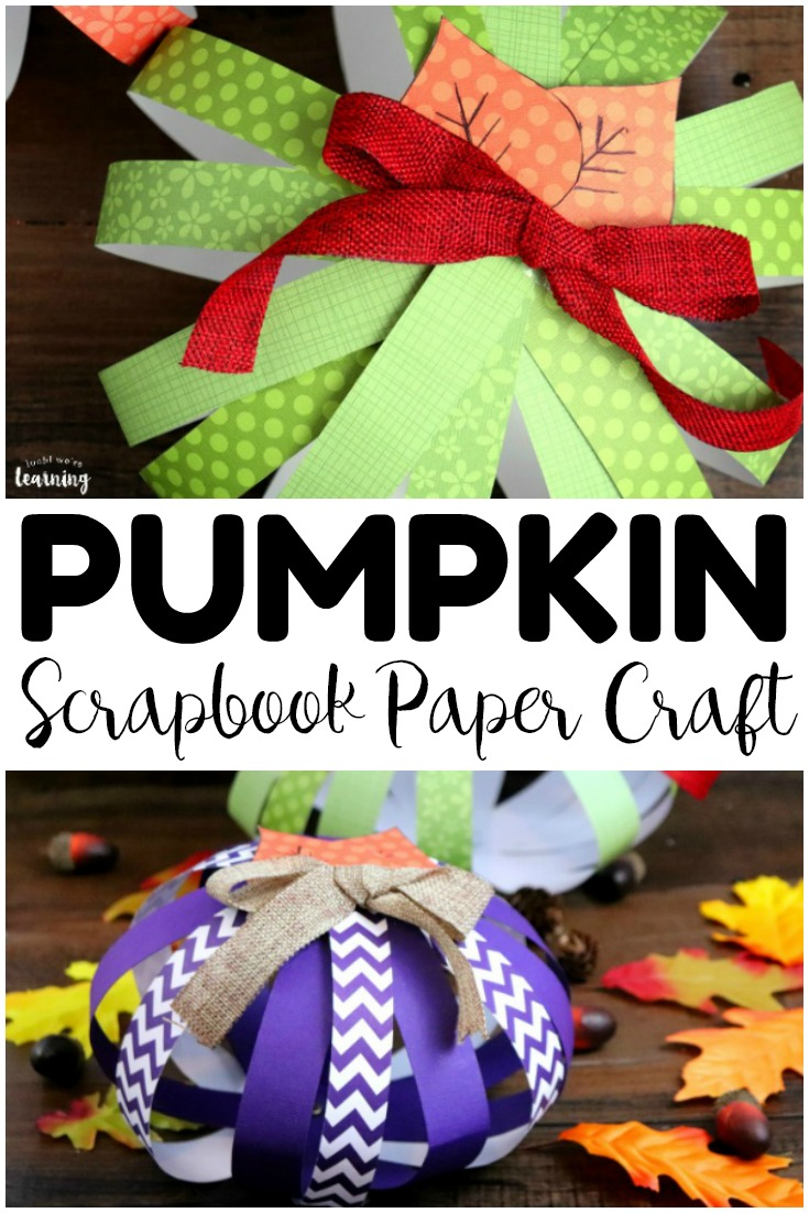 This easy scrapbook paper pumpkin craft is a perfect way to add fall decor to the home! Gather the ingredients for this easy fall craft and let the kids help make it!