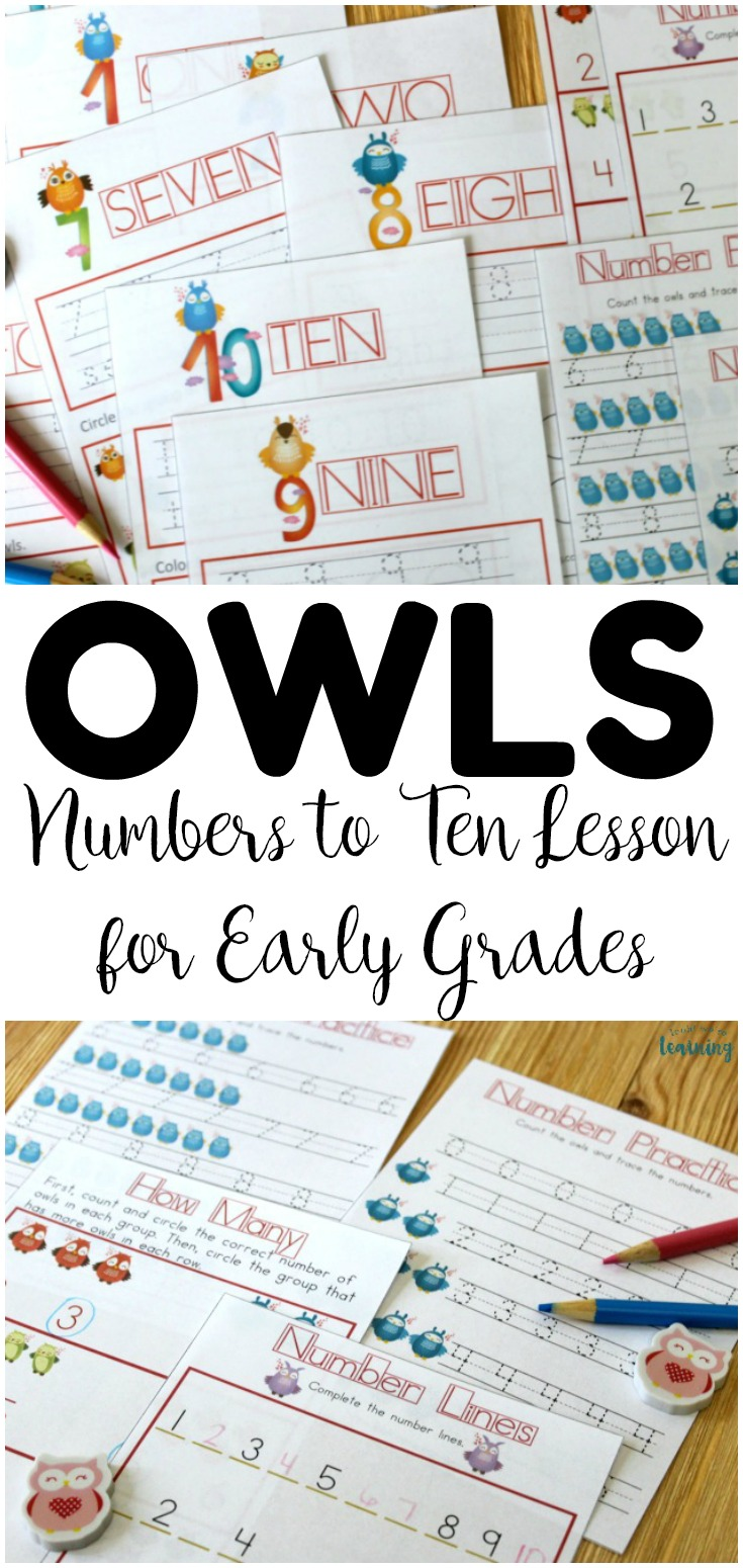 Teach early learners how to write numerals and number words, plus count objects to ten, with this printable owl preschool numbers lesson!