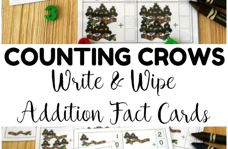 Counting Crows! Write and Wipe Addition Cards