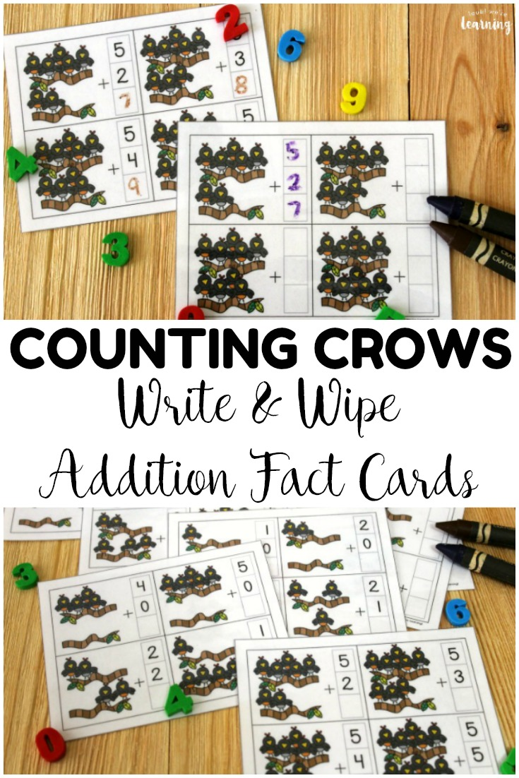 These counting crows addition fact cards are so fun for helping students practice addition fluency! Use them with dry erase crayons at math centers!