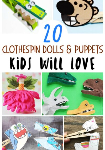 Have spare clothespins laying around the house? Turn them into these fun and easy clothespin puppets for kids to make!
