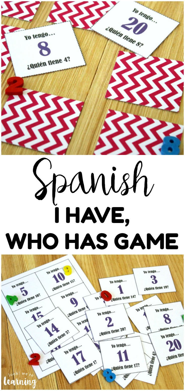 Practice number recognition and Spanish vocabulary with this printable Spanish I Have Who Has Game! So fun for early math and literacy practice!