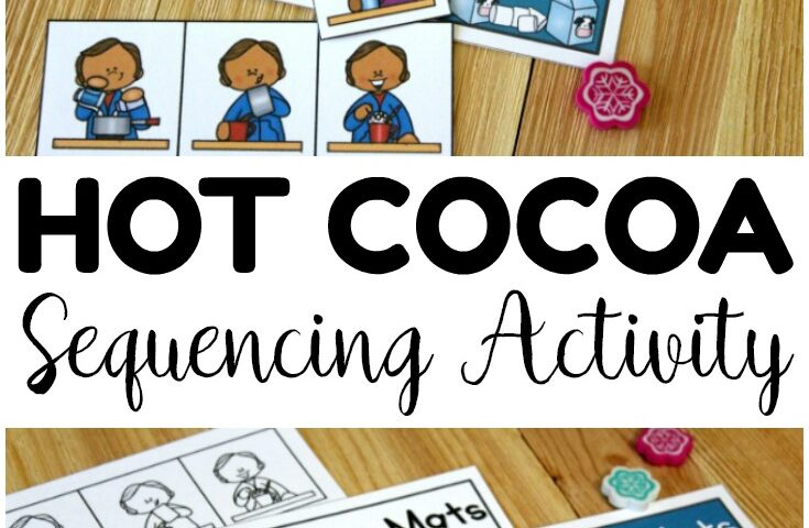 Peppermint Hot Cocoa Sequencing Mats for Kids