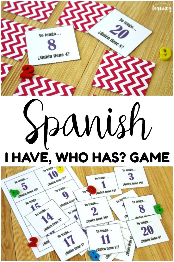 This printable Spanish I Have Who Has Game is great for practicing Spanish vocabulary and counting to 20! Use it with early foreign language learners!